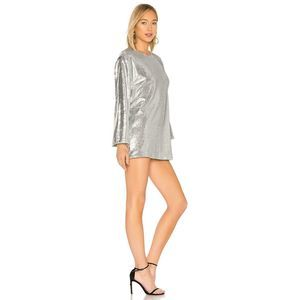 Lovers + Friends Leslie Silver Sequin Mini Dress M